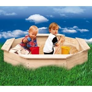 Piaskownica drewniana dla dzieci, 8kątna, surowa