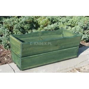 Drewniana skrzynia zielona donica ogrodowa średnia
