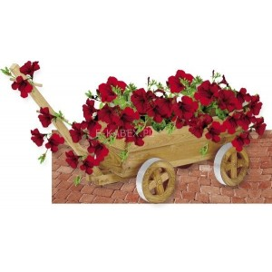 Donica drewniana wóz, fura, kwietnik ozdobny
