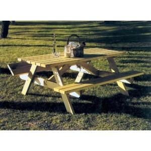 Drewniany stół piwny z ławkami, Picnic