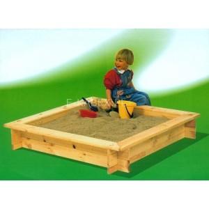 Piaskownica drewniana dla dzieci, 4kątna, surowa