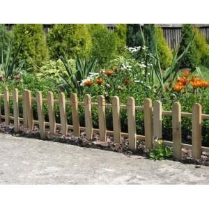 Drewniany płot rabatkowy, ogrodzenie